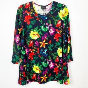 NWT AX Curve Floral Tunic Blouse Bright 18 X